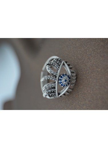 Stoneage Yüzük Nazar Boncuklu Ayarlı Bohem Tarz Gümüş